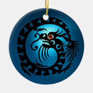 SNAKE DRAGON  Black and Blue Sapphire Red Ruby Ceramic Ornament