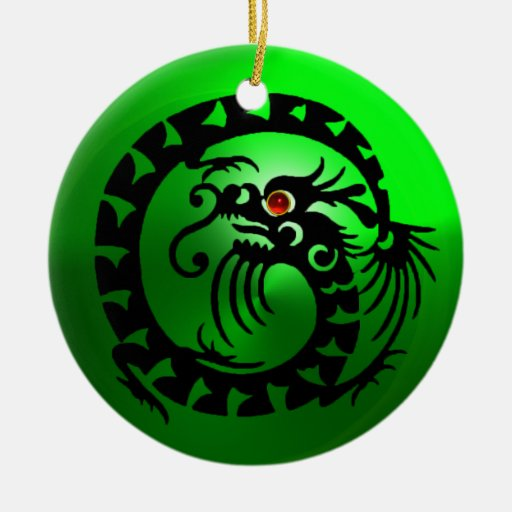 SNAKE DRAGON Black and Green Emerald Double-Sided Ceramic Round Christmas Ornament