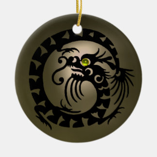 SNAKE DRAGON Black and Grey  Agate Ceramic Ornament