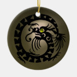 SNAKE DRAGON Black and Grey  Agate Ornaments