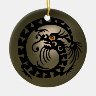 SNAKE DRAGON  Black and  Grey Orange Agate Ceramic Ornament