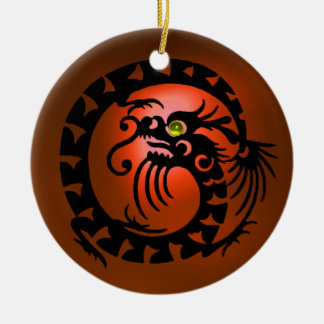 SNAKE DRAGON  Black and Orange Agate Ceramic Ornament