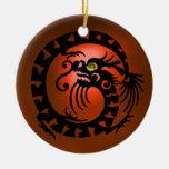 SNAKE DRAGON  Black and Orange Agate Ornament