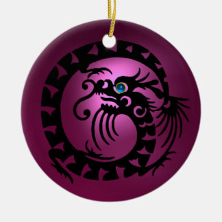 SNAKE DRAGON  Black and Pink Amethyst Ceramic Ornament