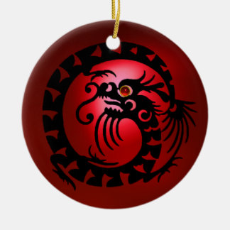 SNAKE DRAGON  Black and Red Ruby Ceramic Ornament