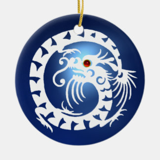 SNAKE DRAGON Black and White Blue Sapphire Ceramic Ornament