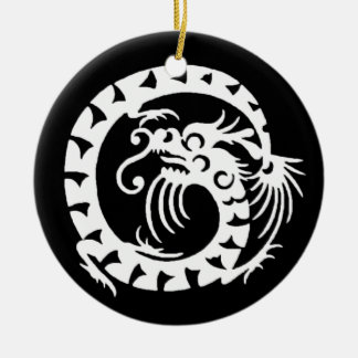 SNAKE DRAGON  Black and White Ceramic Ornament