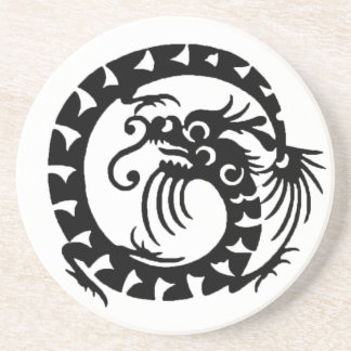 SNAKE DRAGON , black and white Coaster