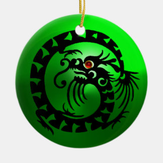 SNAKE DRAGON Black and White Green Emerald Ceramic Ornament