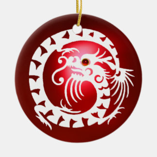 SNAKE DRAGON Black and White Red Ruby Ceramic Ornament