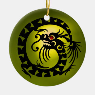 SNAKE DRAGON  Black and Yellow Topaz Ceramic Ornament