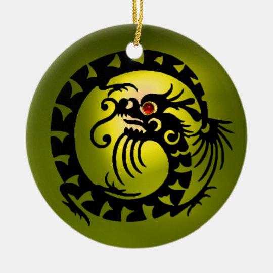 SNAKE DRAGON  Black and Yellow Topaz Ceramic Ornament
