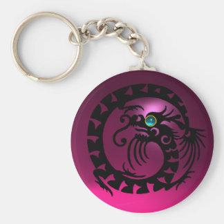 SNAKE DRAGON,black,blue aquamarine,pink amethyst Basic Round Button Keychain