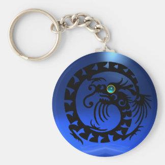 SNAKE DRAGON,black,blue aquamarine,sapphire Basic Round Button Keychain