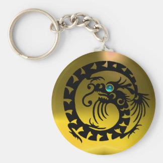 SNAKE DRAGON,black,blue aquamarine,yellow topaz Keychain