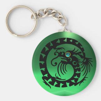 SNAKE DRAGON,black,blue jade green, Basic Round Button Keychain