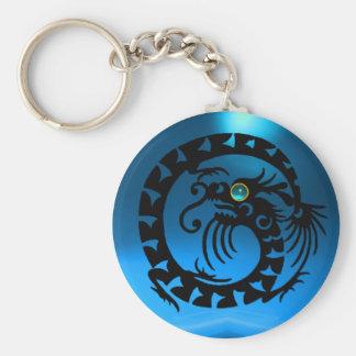 SNAKE DRAGON,black,blue sapphire, Basic Round Button Keychain