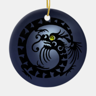 SNAKE DRAGON  Black Blue Topaz Ceramic Ornament