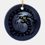 SNAKE DRAGON  Black Blue Topaz Ornaments
