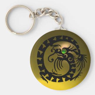 SNAKE DRAGON,black, green emerald,yellow topaz Basic Round Button Keychain
