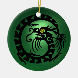 SNAKE DRAGON  Black Green Jade Ceramic Ornament
