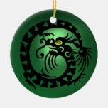 SNAKE DRAGON  Black Green Jade Ornament