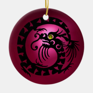 SNAKE DRAGON  Black Pink Red Ruby Ceramic Ornament