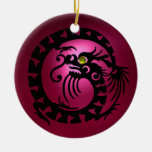 SNAKE DRAGON  Black Pink Red Ruby Ornaments