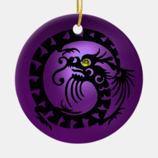 SNAKE DRAGON  Black  Purple and Pink Amethyst Ceramic Ornament
