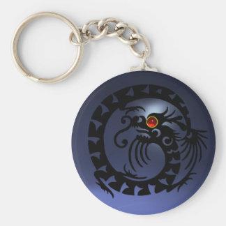 SNAKE DRAGON,black,red  ruby,blue topaz Keychain