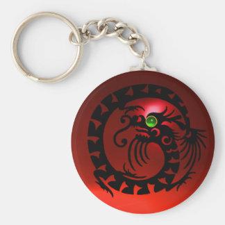 SNAKE DRAGON,black,red ruby,green emerald Basic Round Button Keychain