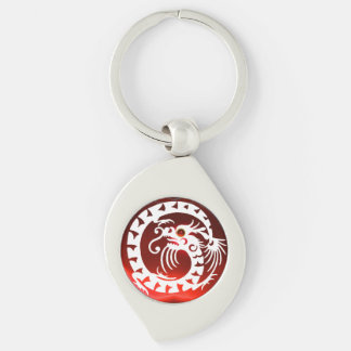 SNAKE  DRAGON, Black,White ,Red Ruby Silver-Colored Swirl Metal Keychain