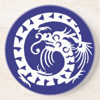 SNAKE DRAGON ,blue and white Coaster