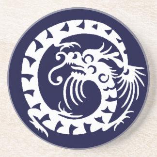 SNAKE DRAGON , blue and white Sandstone Coaster