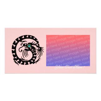 SNAKE DRAGON ,Blue Turquase Aquamarine pink Card