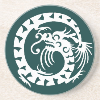 SNAKE DRAGON , green and white Drink Coaster