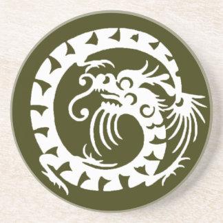 SNAKE DRAGON , green and white Sandstone Coaster