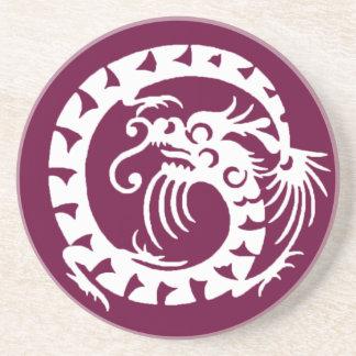 SNAKE DRAGON , purple and white Coaster