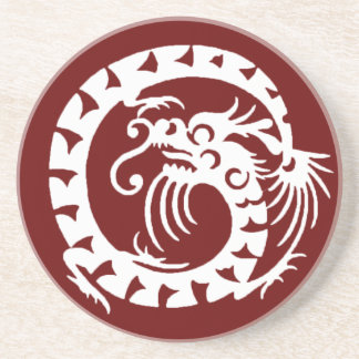 SNAKE DRAGON , red and white Drink Coaster