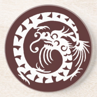 SNAKE DRAGON , red brown and white Drink Coaster