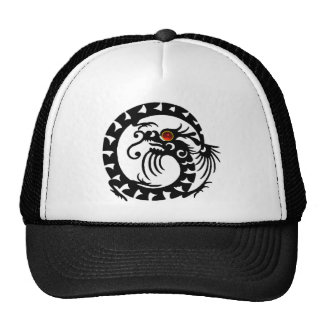 SNAKE DRAGON RUBY, black and white red Trucker Hat