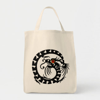 SNAKE DRAGON RUBY, black and white red Tote Bag