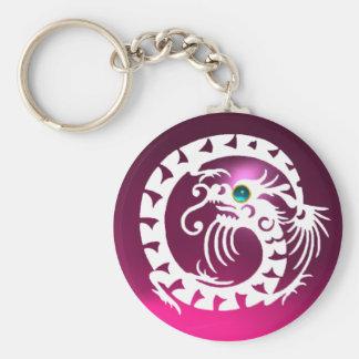SNAKE DRAGON,white,blue aquamarine,pink amethyst Basic Round Button Keychain