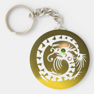 SNAKE DRAGON,white, green emerald,yellow topaz Keychain