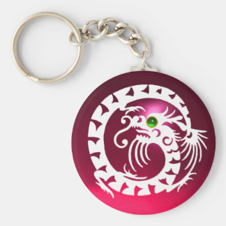 SNAKE DRAGON,white,red pink ruby,green emerald Basic Round Button Keychain
