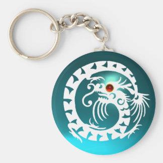 SNAKE DRAGON,white,red  ruby,blue aquamarine Basic Round Button Keychain