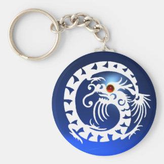 SNAKE DRAGON,white,red  ruby,blue sapphire Basic Round Button Keychain