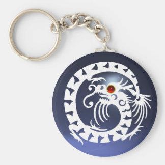 SNAKE DRAGON,white,red  ruby,blue topaz Basic Round Button Keychain