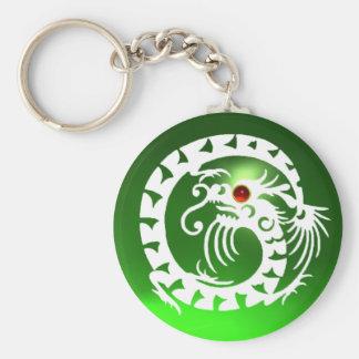SNAKE DRAGON,white,red  ruby,green emerald Basic Round Button Keychain
