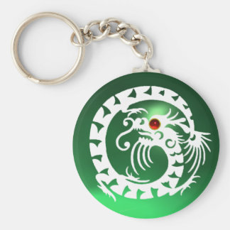 SNAKE DRAGON,white,red  ruby, green jade Keychain